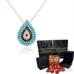 Chavin Turquoise Stony Evil Eye Drops Silver Necklace