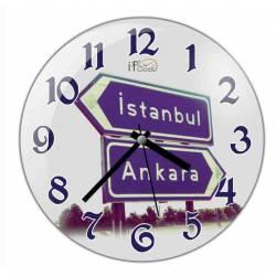 Istanbul - Ankara Convex Real Glass Wall Clock