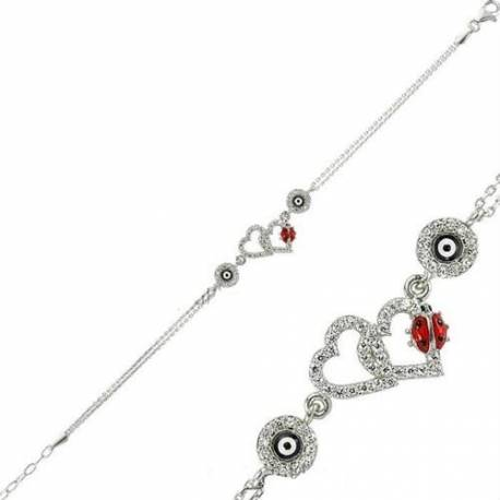 Double Heart and Ladybug Silver Evil eye Bracelets