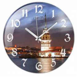 Maiden's Tower Convex Real Glass Wall Clock