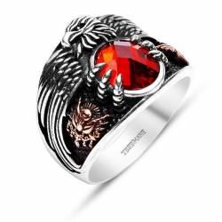 Silver Ring The Last Emperor (Red Stone)