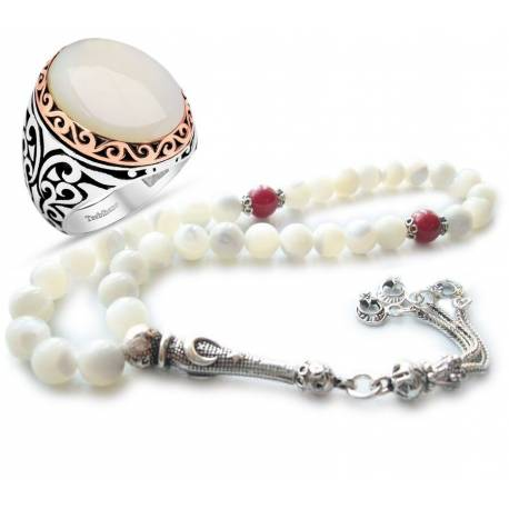 Moon Star, Silver head, Pearl Coral Rosary and Silver Pearl Gemstone Rings