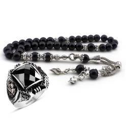 Payitaht Zircon Silver Ring and Onyx Natural Stone Rosary