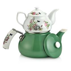 Schafer Teerose Porcelain Green Teapot Set