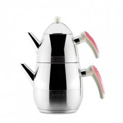 Karaca Daphne Steel Teapot Set Pink