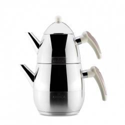 Karaca Daphne Steel Teapot Set Grey