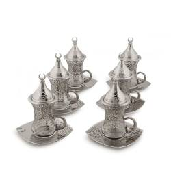 Drop Tea Set Gilded Handle Nickel Plate Square