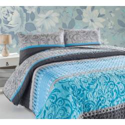 Eponj Home Quilted Bedspread Set Double Miranda Turquoise