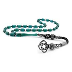 1000 Sterling Silver, Oil Green Color Tightening Amber Rosary tassels kazaz
