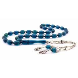 925 Sterling Silver,Petrol Blue Amber Rosary