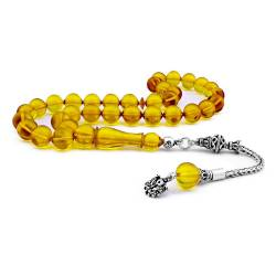 925 Sterling Silver, Yellow Amber Rosary