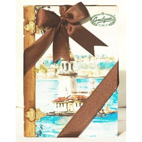 Pistachio, Hazelnut and Mastic Gum Mixed Double Roasted Turkish Delight in Wooden Book Box