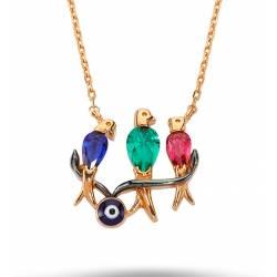 925 Sterling Silver 3 Stone Birds Necklace