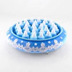 Blue Velvet Round Feeding Bottle On A Tray Drajel Newborn gift