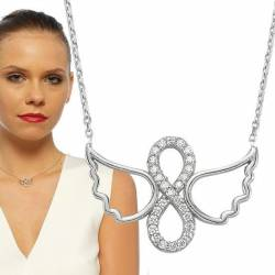 Eternity Sign and Angel Wings Silver Necklace