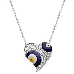 925 Silver Zircon Stone Heart Evil eye Necklace