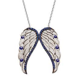 Silver Angel Wing Zircon Stone Evil Eye beaded necklace