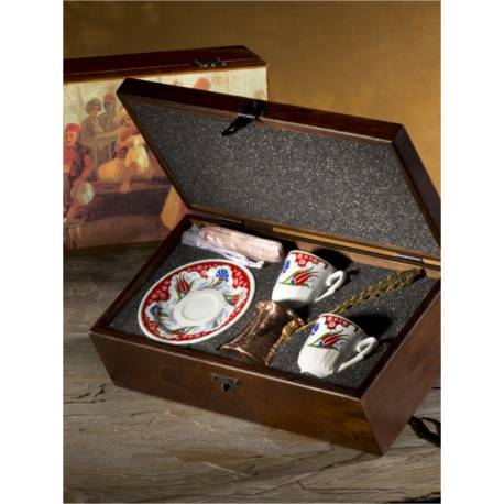 Ottoman Tulip Design Turkish Coffee set