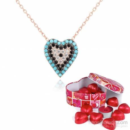Heart Stone Silver Pendant Evil Eye Bead Turquoise Chavin