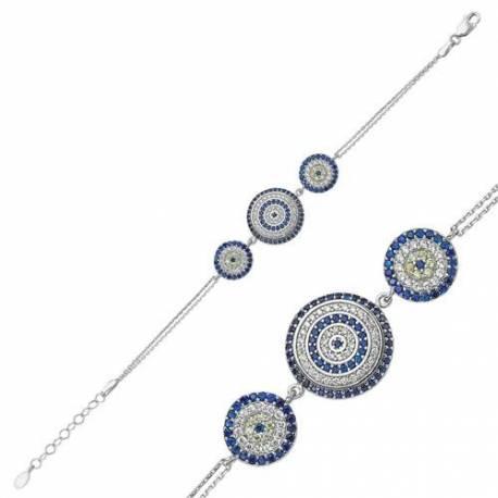 Silver Evil Eye Bead Bracelet
