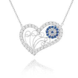 Heart Silver Ladies Necklace Evil Eye Chavin