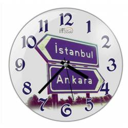 Istanbul - Ankara Convex Real Glass Wall Clock