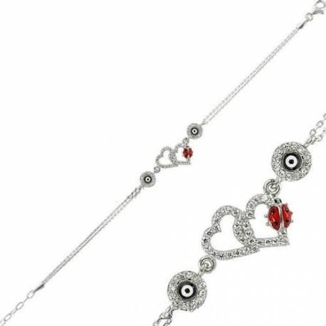 Double Heart and Ladybug Silver Evil eye Bracelets