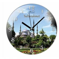 Sultanahmed Blue Mosque Convex Real Glass Wall Clock