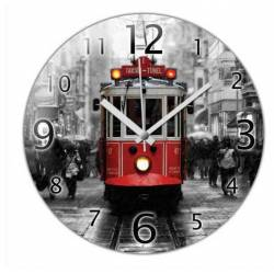 Nostalgic Tram in Taksim Convex Real Glass Wall Clock