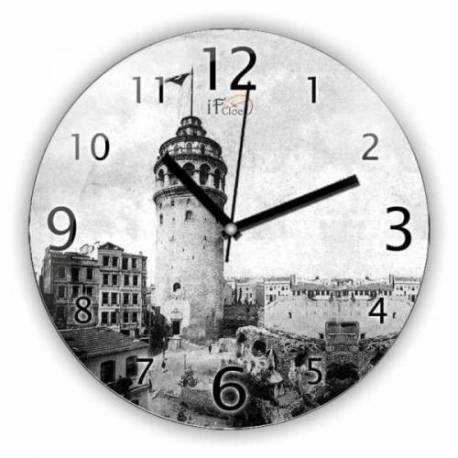 Galata Tower Convex Real Glass Wall Clock