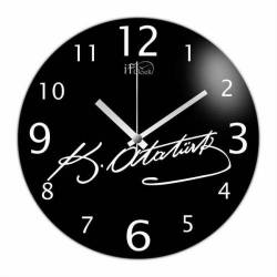 Ataturk signature Convex Real Glass Wall Clock