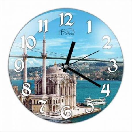 Bosphorus Bridge Convex Real Glass Wall Clock