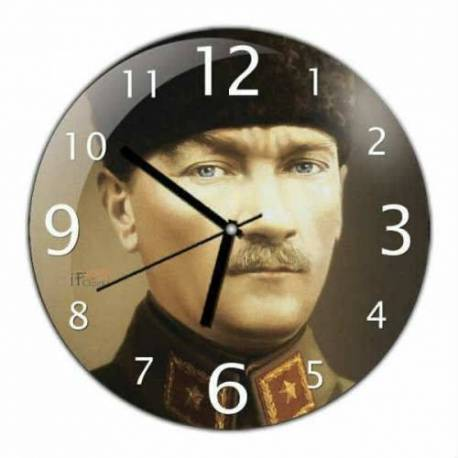 Mustafa Kemal Ataturk Convex Real Glass Wall Clock