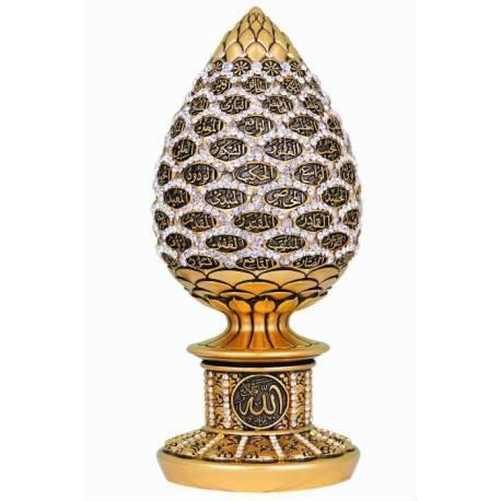 Gold leaf Esmaül Husna Swarovski stones trinket