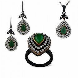 Hurrem Emerald Silver Jewelry Set