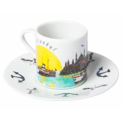 Turkish Coffee Cups Bosphorus Ferry Solar Daytime