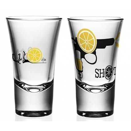 Double Shot Glass Violence Lemon