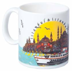 Porcelain Coffee Cup Ferry Sun Day