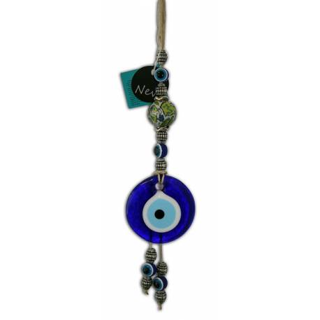Ceramic Wall evil eye beaded ornament