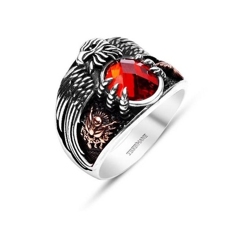 Silver Red Granite : Silver ring the last emperor red stone