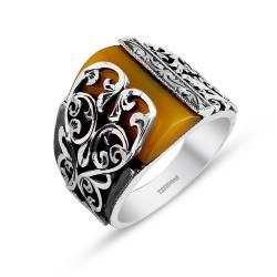 Pen Embroidered Erzurum Handmade Tightening amber ring