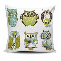 Cute Owls Patterned Decorative Pillow