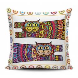 Patterned Cats Decorative Pillow