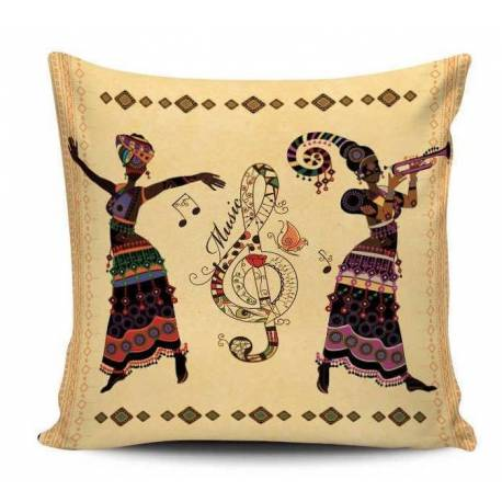 African Music Imprinted Decorative Pillow