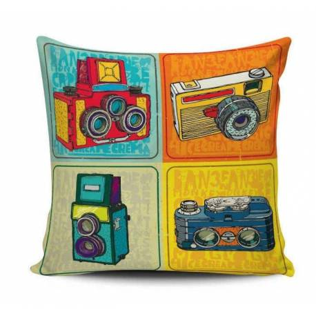 Retro Cameras Decorative Pillow