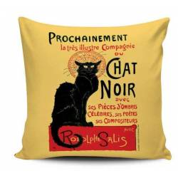 Chat Noir Retro Decorative Pillow