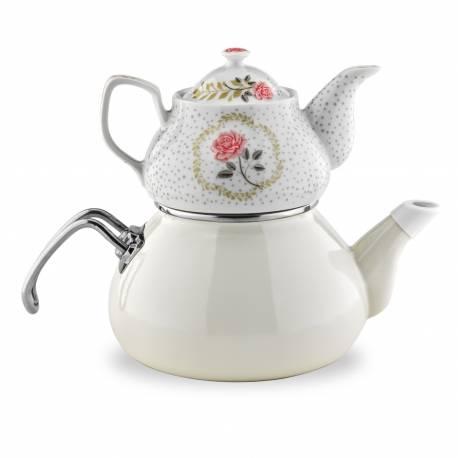 Schafer Tee Morgen Enamel Tea Pot Set beige