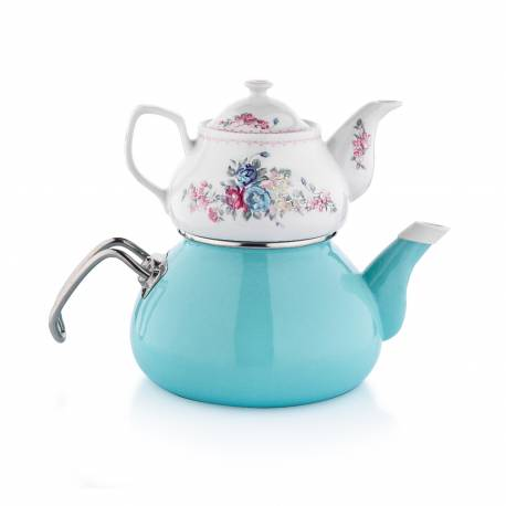 Schafer Tee Morgen Enamel Tea Pot Set Blue