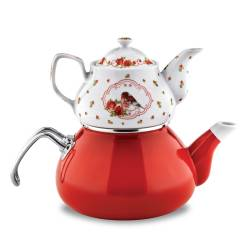 Schafer Tee Morgen Enamel TeaPot Set Red