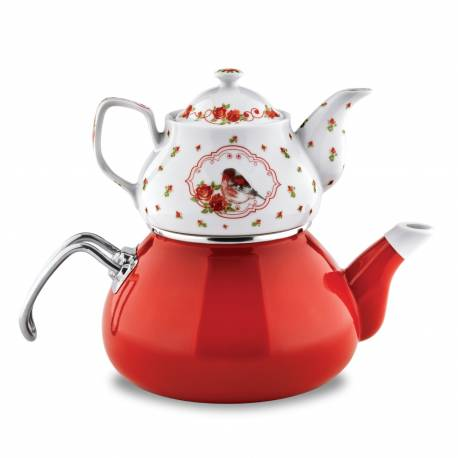 Schafer Tee Morgen Enamel Tea Pot Set Red